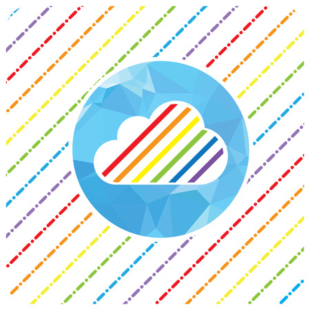 gay pride rainbow: LGBT Gay pride love concept - Rainbow cloud on blue polygonal and rainbow rain on with background