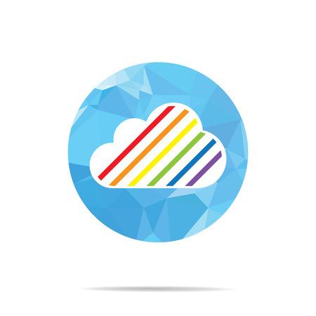 transsexual: LGBT Gay amor orgullo concepto - Rainbow nubes en azul lluvia poligonal y arco iris en con el fondo