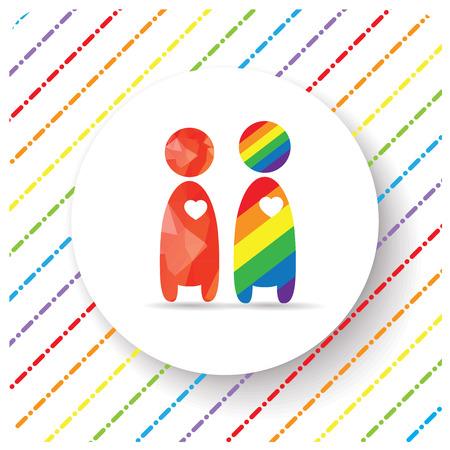 uomo rosso: LGBT Gay Pride amore concetto - l'uomo rosso dare il suo cuore a arcobaleno uomo - maschio coppia stand su sfondo bianco