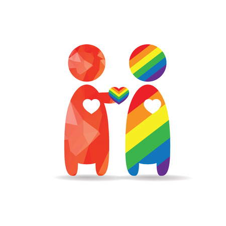 LGBT Gay pride love concept - Red man give his heart to rainbow man - Male couple stand on white background