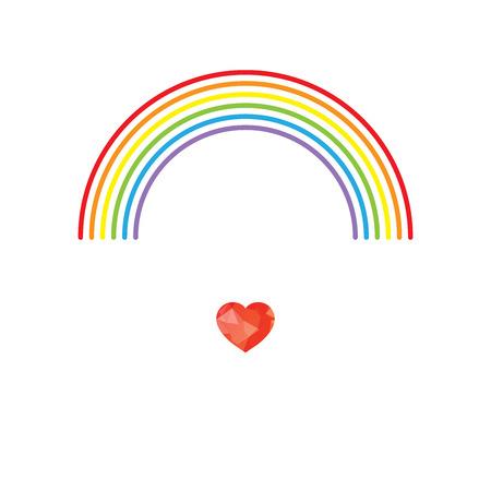bandera gay: LGBT del orgullo gay el concepto de amor - Arco iris y el corazón rojo poligonal