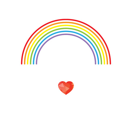 LGBT Gay pride love concept - Rainbow and polygonal red heart Stock Illustratie