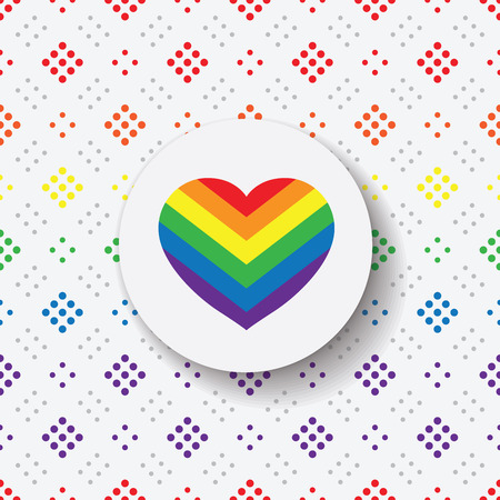 gay pride rainbow: LGBT Gay pride love symbol - Rainbow heart icon and black circle on colorful geometric background Illustration