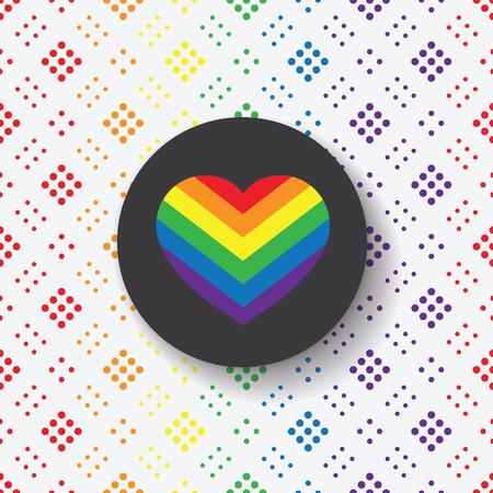 transexual: LGBT Gay s�mbolo del amor del orgullo - icono del coraz�n del arco iris y el c�rculo negro sobre fondo geom�trico colorido