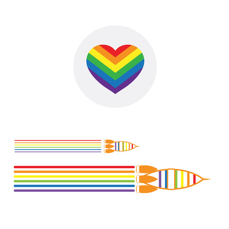 gay pride rainbow: LGBT Gay pride love concept - Rainbow heart icon and rainbow rocket couple on white background