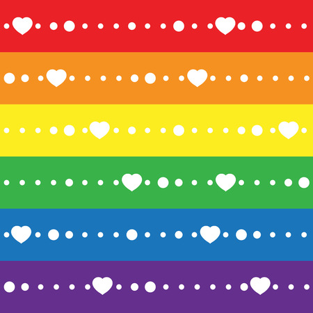 trans gender: LGBT Gay pride love concept - Rainbow flag with white heart