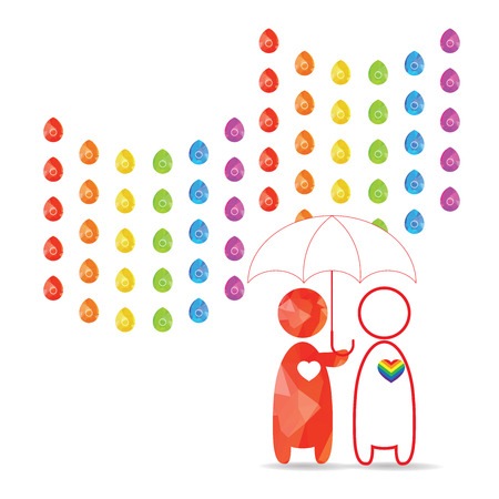 love in rain: LGBT Gay pride love concept - Rainbow rain and male couple with umbrella in his hand