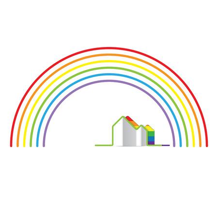 transsexual: LGBT Gay concepto de amor el orgullo - Rainbow y el arco iris a casa Vectores
