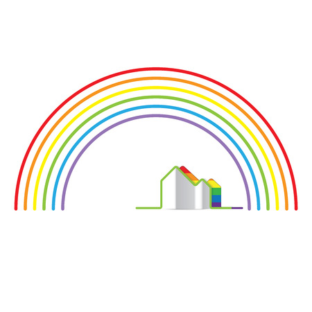 trans gender: LGBT Gay pride love concept - Rainbow and rainbow home Illustration