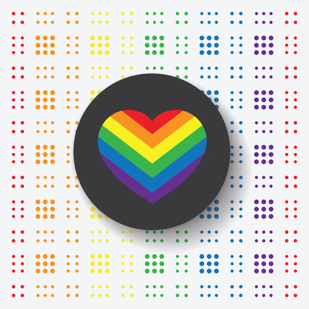trans gender: LGBT Gay pride love symbol - Rainbow heart icon and black circle on colorful geometric background Illustration
