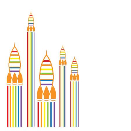 trans gender: LGBT Gay pride love concept - Rainbow rocket on white background Illustration