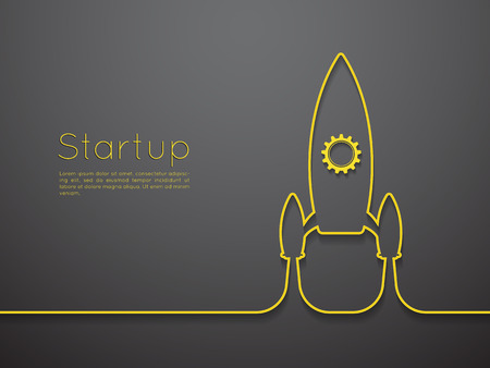 creative planning: Startup business project with rocket image Illustration