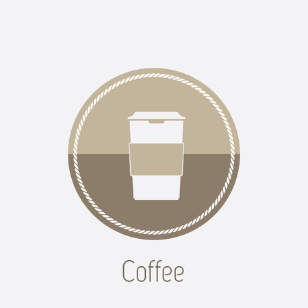 take out food container: Vector icon of take-out coffee in holder Illustration