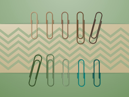 paper clips: Colorful paper clips on green background in retro style