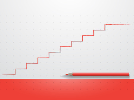 red pencil: Red pencil with red line like stair