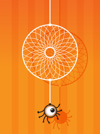 with spooky: Halloween concept with one eye spider and his web like a dreamcatcher
