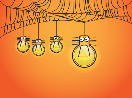 one eye: Halloween concept with one eye spider in light bulb style