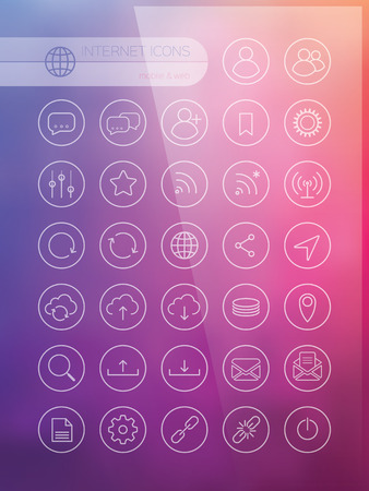 interface design: Set of icons for web and user interface design on blurred background