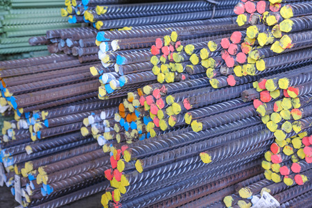 industrial steel iron bars in the factory