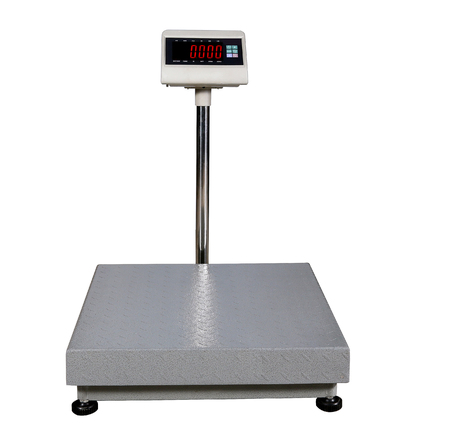 scales for weighing heavy objects and goods, isolated on white background Stock Photo - 87699985