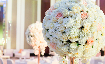 Beautiful color full flowers in wedding and event Stock Photo