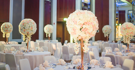 Beautiful color full flowers in wedding and event Imagens