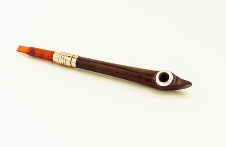 beautiful wooden smoking pipes on white background Imagens