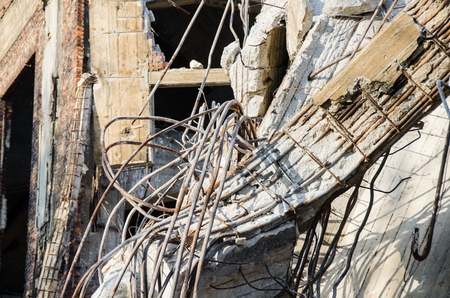 Rubble and scrap remaining after the demolition of the building Stock Photo