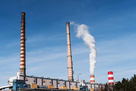 coking: The photo shows a factory producing energy. Stock Photo