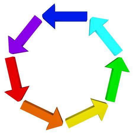 turnaround: rainbow arrow circle Stock Photo