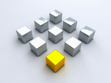 Square with gold cube and steel cubes