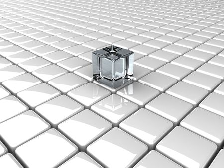 many white boxes and glass cube background
