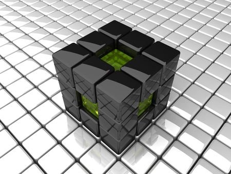 abstract black cube background photo