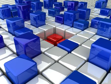 many coloured: many blue high boxes and red hole(white)