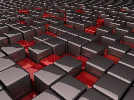 grey boxes and many red pits photo