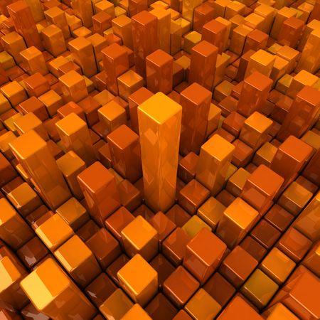many coloured: High contrast orange boxes Stock Photo