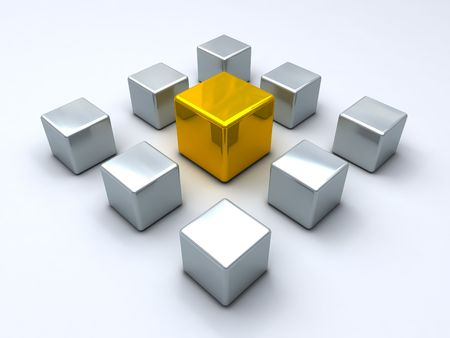 contestant: Gold cube encircled by steel Stock Photo