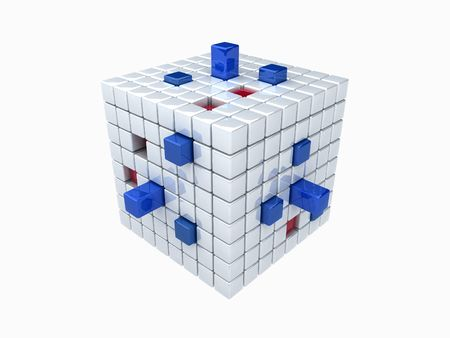pit fall: Cube with red and blue bars Stock Photo