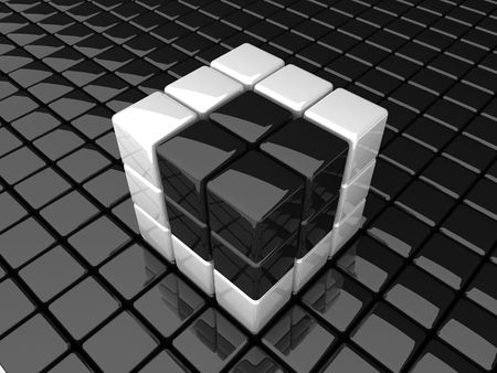 abstract black cube in white photo