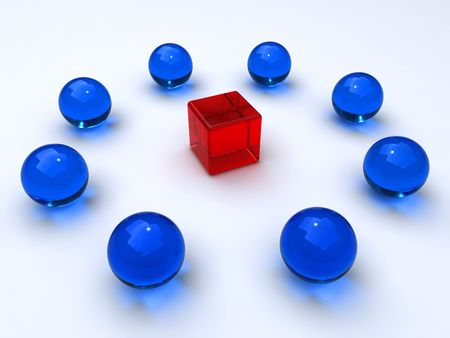 contestant: Cube encircled by spheres