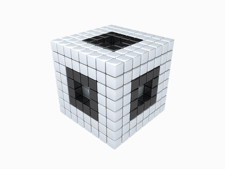 cube with holes and black borders photo