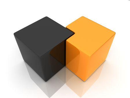 union of black and orange cube Stock Photo