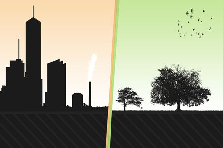 urbanization: urbanization and environment Stock Photo