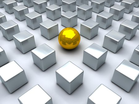 looser: Golden sphere and many steel cubes