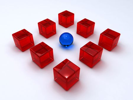 contestant: Sphere encircled by cubes