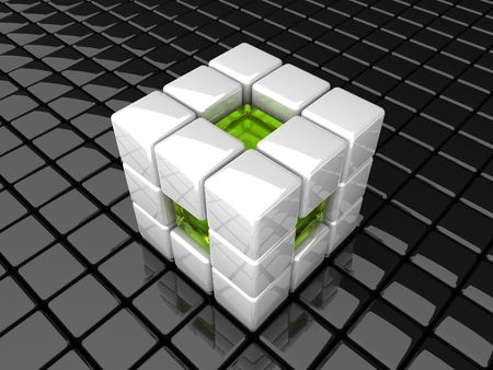 many coloured: abstract white cube background Stock Photo