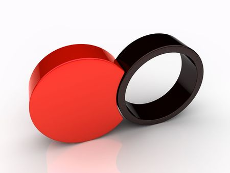 Union of two red round elements (red collection) Stock Photo - 6045491