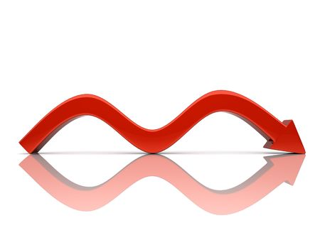 bumps: Illustration of red falling arrow with bumps