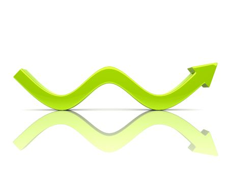 bumps: Illustration of green rising arrow with bumps