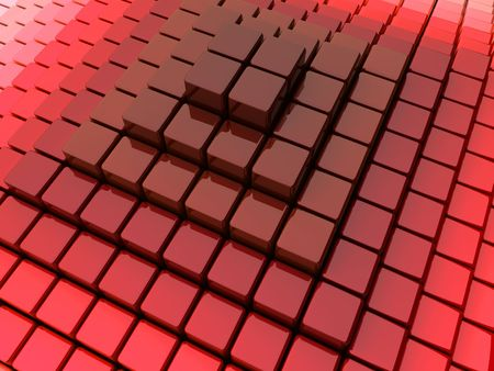diminishing perspective: Background with abstract red pyramid from boxes